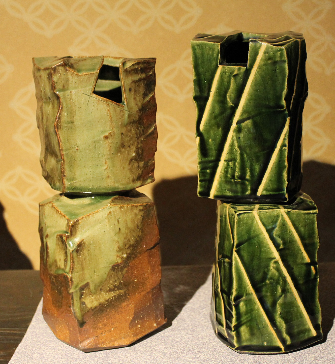 Oribe and Glazed Double-Block Sculpture Vases by Hatano Masanori