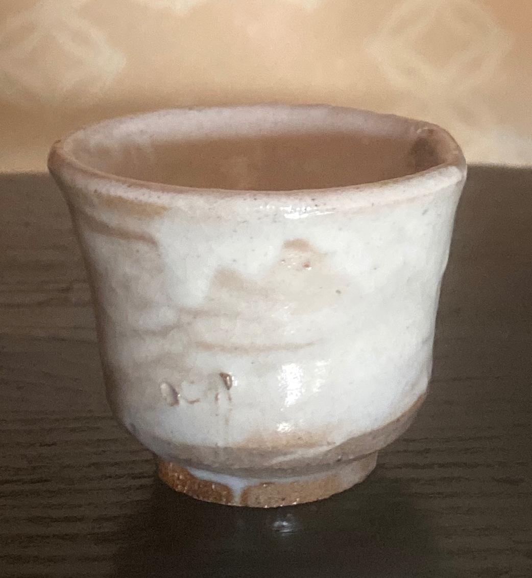 White Slip Kohiki Guinomi by Tsuji Seimei