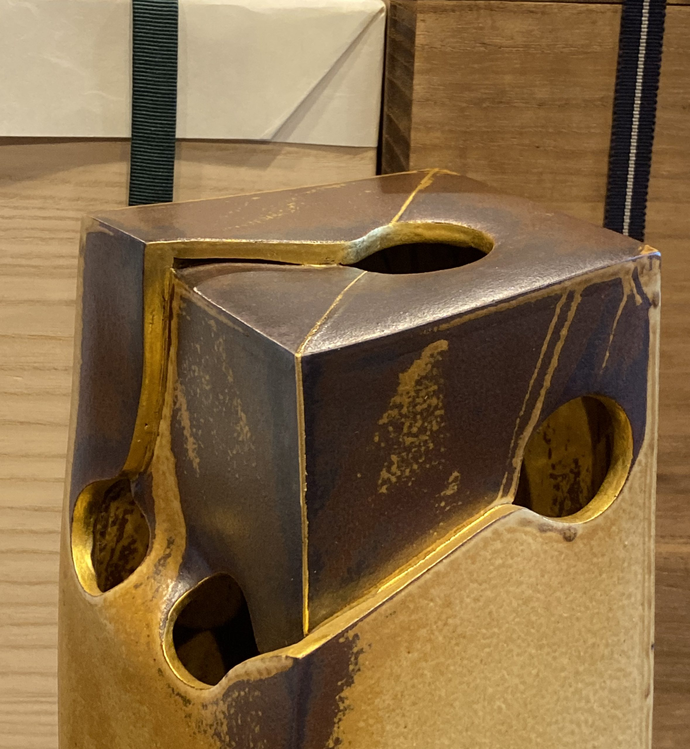 Gold-Irabo Glazed Sculpture Vase by Kiyomizu Rokube VII