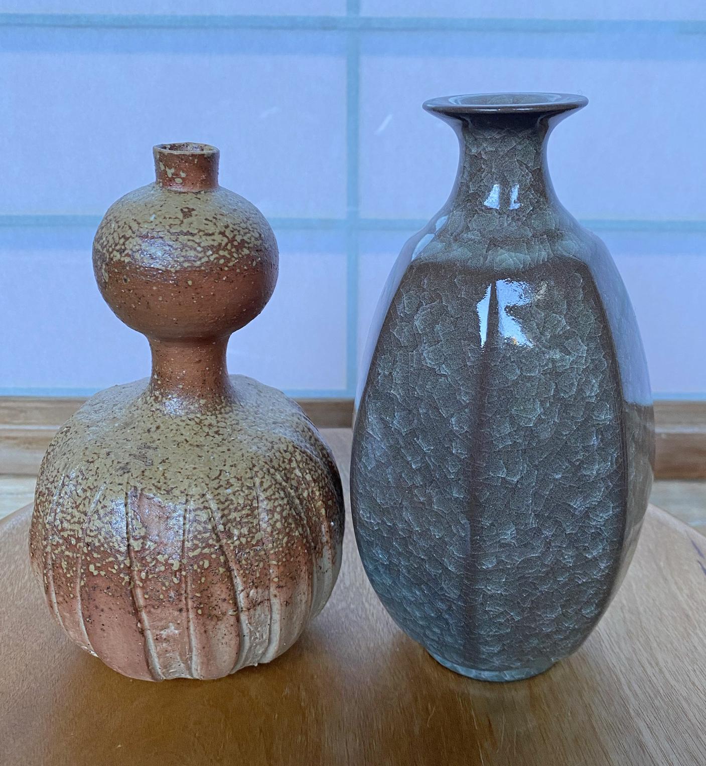 Bizen Mori Togaku/Celadon Minegishi Seiko Flasks