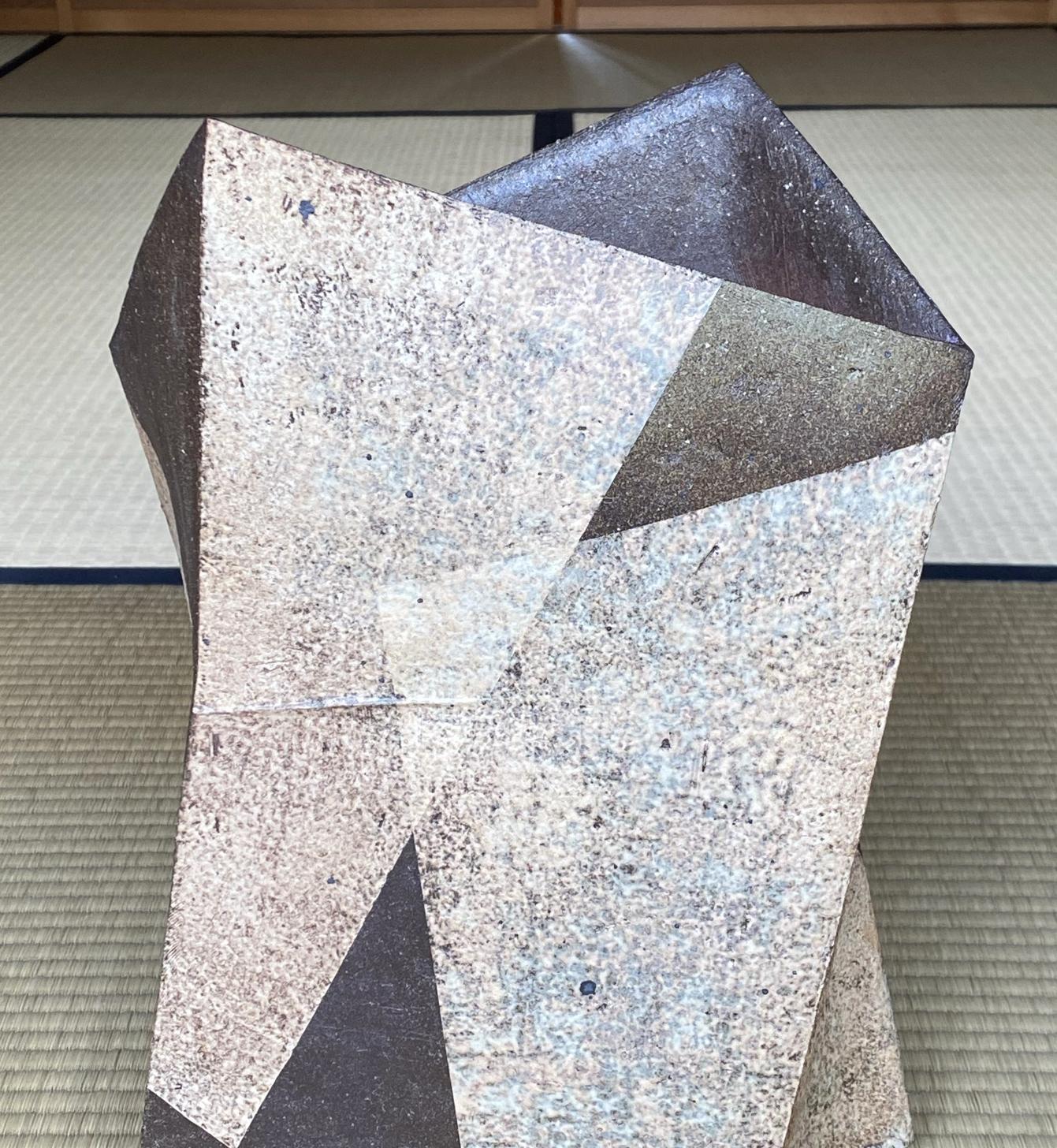 White Tamba Sculpture-Vase by Shimizu Keiichi