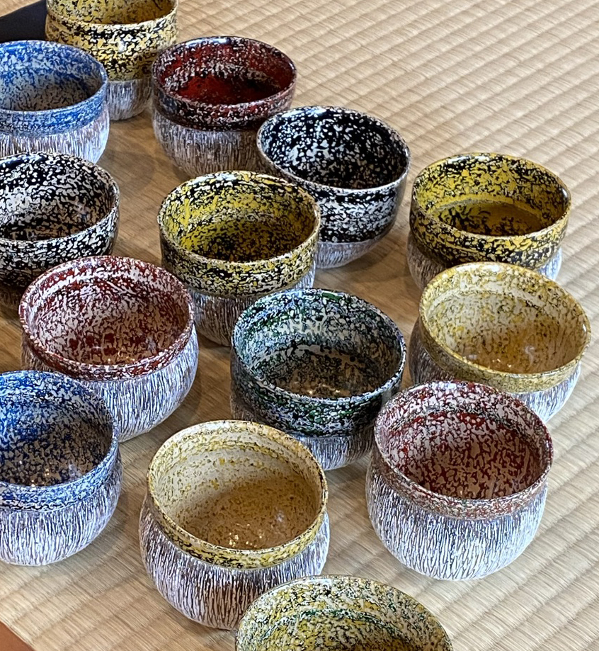 17 Ceramic-Lacquer Cups by Tanoue Shinya